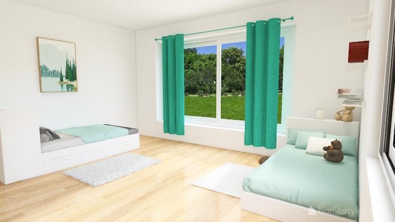 Scandinavian turquoise home Interior Design Render