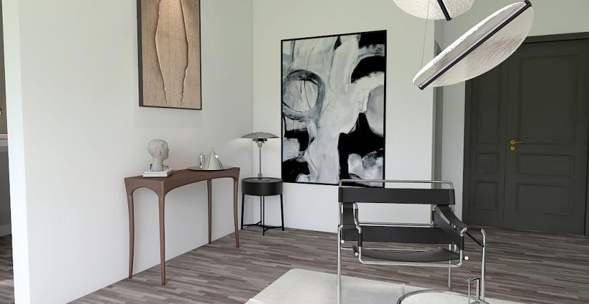 Sleek Black Living/Dining Interior Design Render