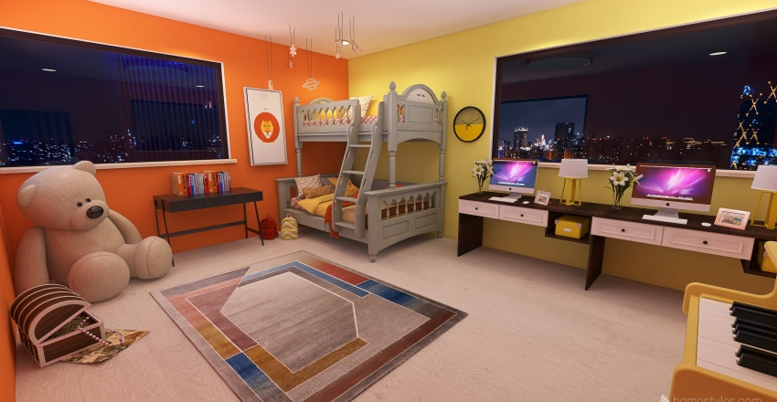 Orange/Yellow Tone Kids Room and Study Interior Design Render