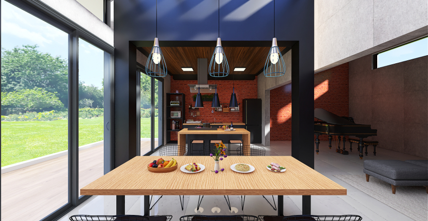 Industrial kitchen and dining Interior Design Render
