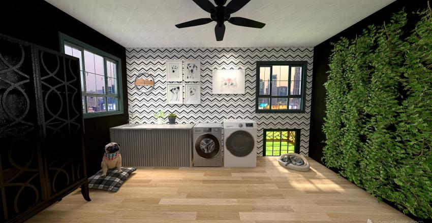 Chic Laundry Room Interior Design Render