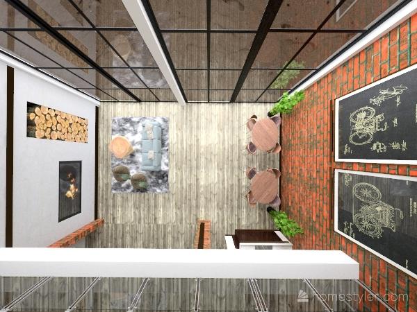 Brick apartament with entresole Interior Design Render