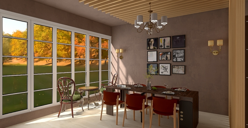 Autumn Inspired Living/Dining room Interior Design Render