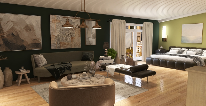 green rooftop studio Interior Design Render