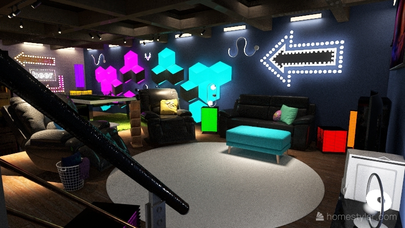 Boys Basement Arcade Interior Design Render