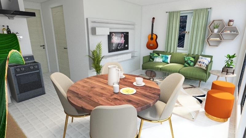 Shocking Green Interior Design Render