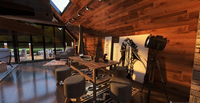 LAKE VIEW CABIN RETREAT HOUSE Interior Design Render