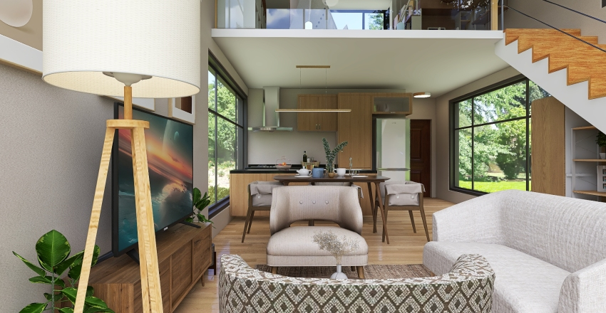 Three Levels Tiny House  with Roof Deck Interior Design Render