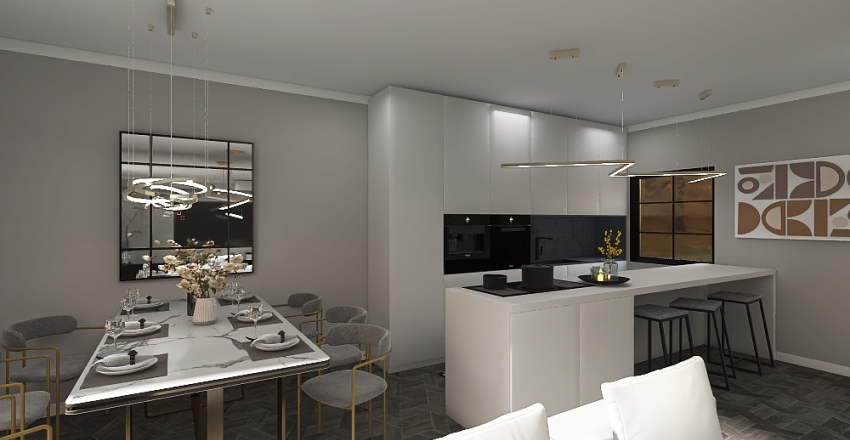 Modern sweet home Interior Design Render