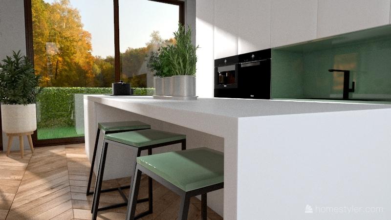 Green theme Interior Design Render