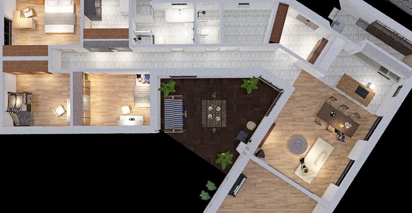 v4 Sypialnia z garderoba Interior Design Render