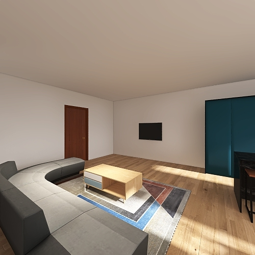 2 bed 1 bath apartment. Interior Design Render