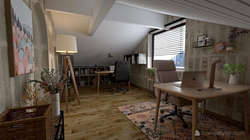 strych z biurem i sypialnią Interior Design Render