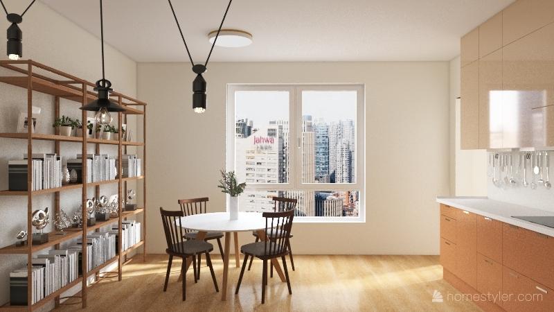 neutral and sage one bedroom Interior Design Render