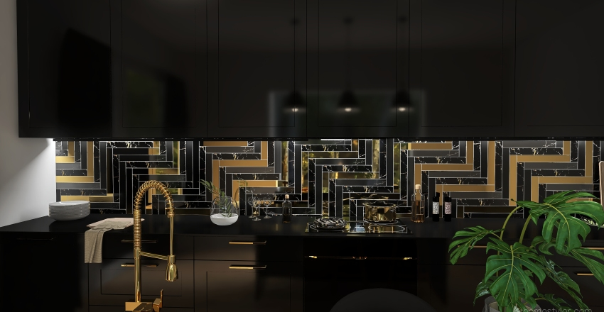 Gold and Black Interior Design Render