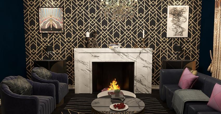 art deco family room Interior Design Render