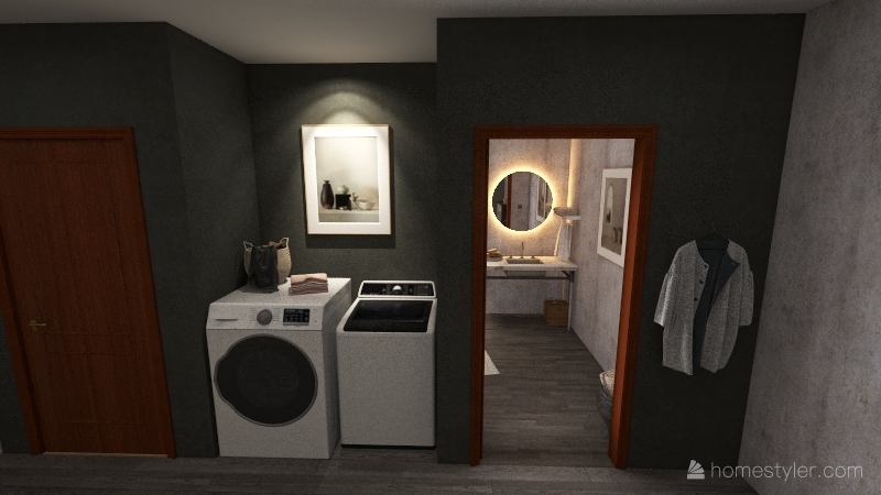 2 bed 1 bath Interior Design Render