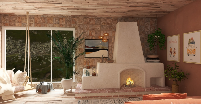 wandering the mountains house.  Interior Design Render