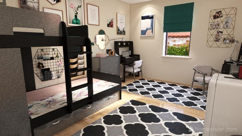 Chic College Dorm Interior Design Render