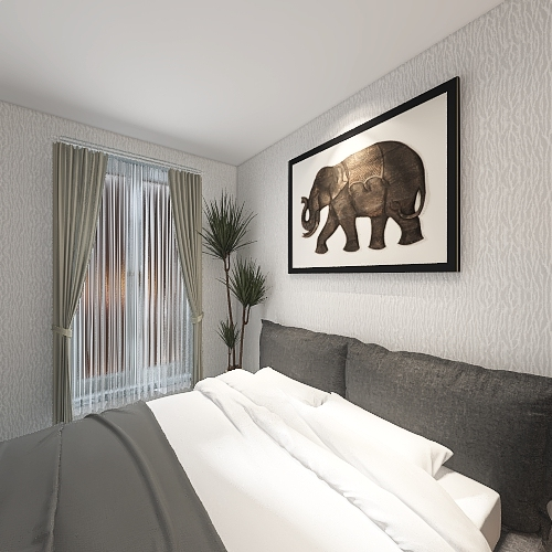Modern Bedroom W/Living Area Interior Design Render