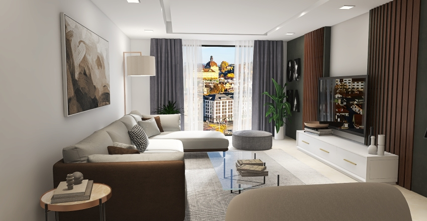 Modernistic living Interior Design Render