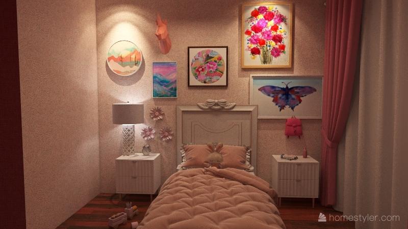 Little Girl's Bedroom Interior Design Render