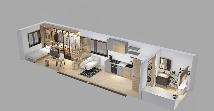 Shipping Container Mini Home  Interior Design Render