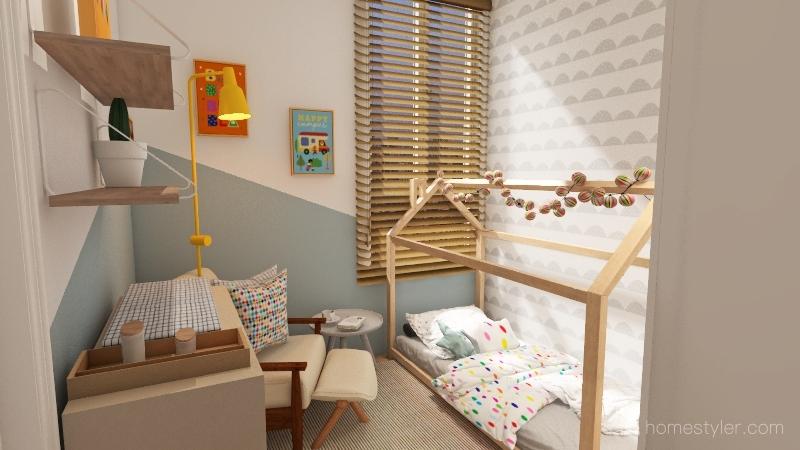 Quarto infantil moderno e colorido Interior Design Render