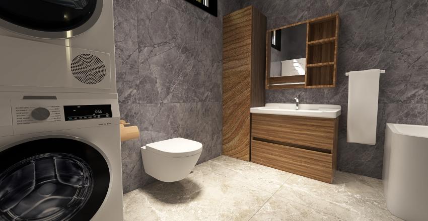 Wood & Concrete Bathroom Interior Design Render
