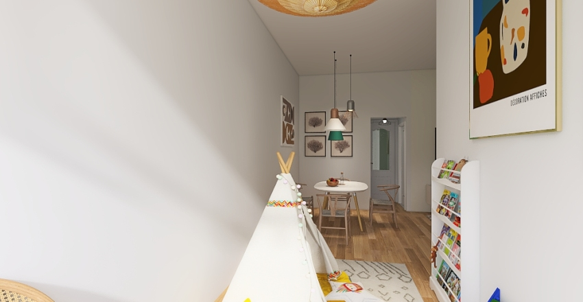 Appartament for family with two kids Interior Design Render