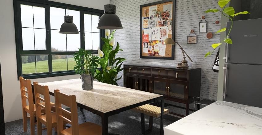 Industrial kitchen/dining room Interior Design Render