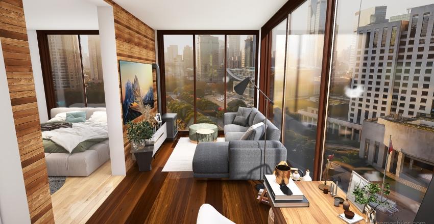 Small 2 room apartment Interior Design Render