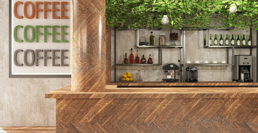 Jungle bar. Interior Design Render