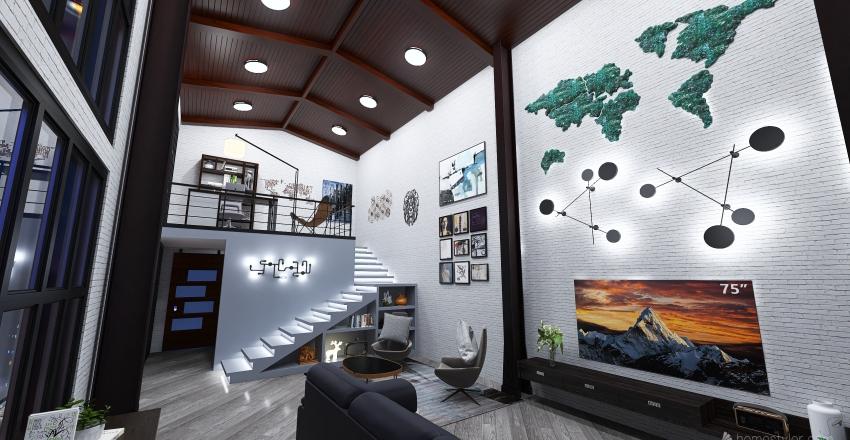Living Room - Urban Style Interior Design Render