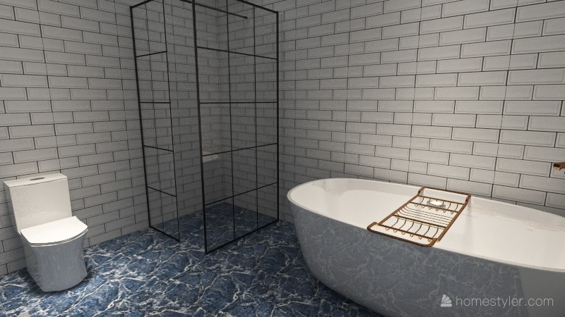 navy blue beach house Interior Design Render