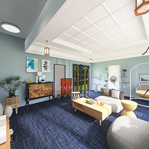 Transitional style living room Interior Design Render