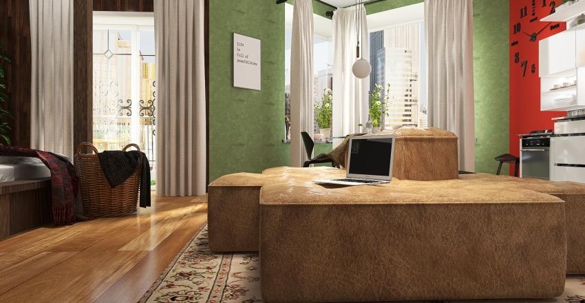RGB-Red-Green-Blue studioapartment Interior Design Render