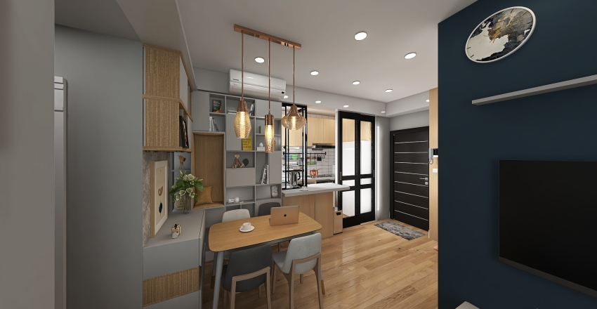 大興447呎 open kitchen Interior Design Render