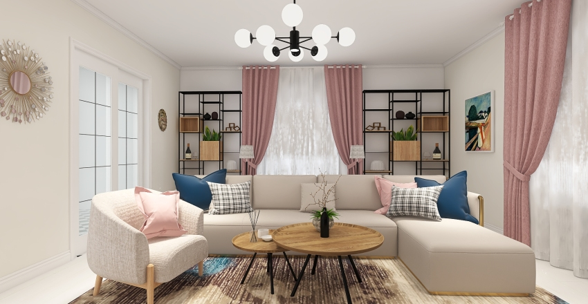 Living Room in pink Interior Design Render