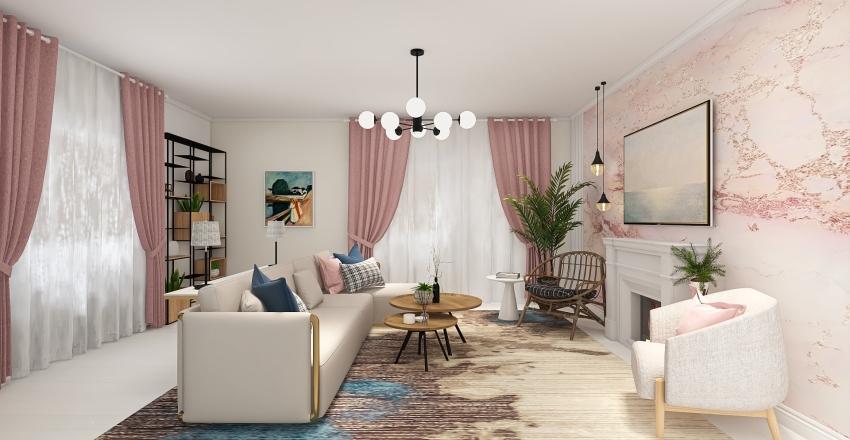 Living Room in pink Interior Design Render