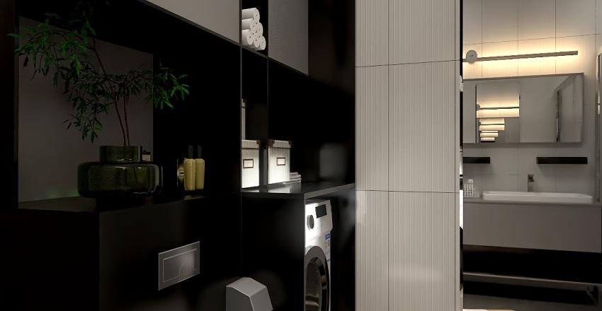 bathroom design with laundry area Interior Design Render