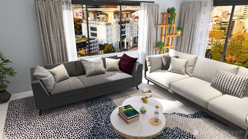 Scandinavian Style Living Room Interior Design Render