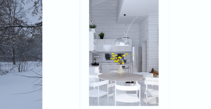 The white cabin -  Holiday house Interior Design Render