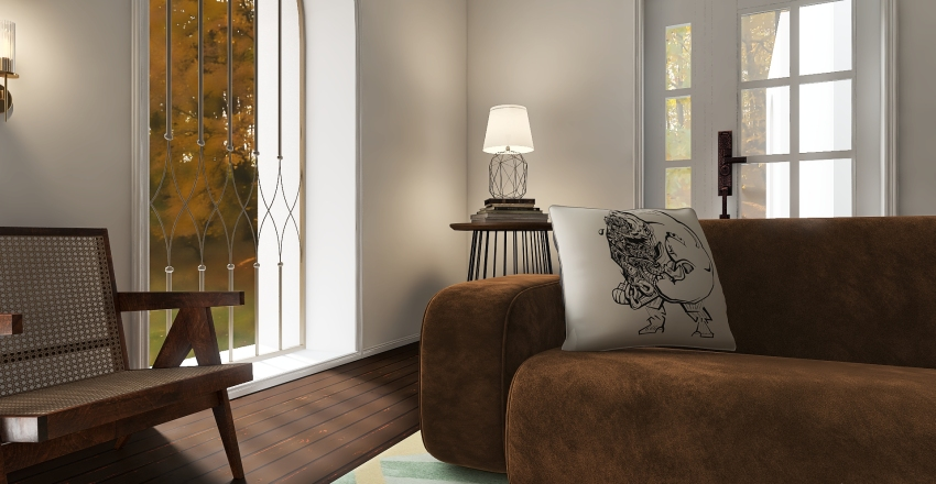 non traditional design apartment next to beautiful forest Interior Design Render