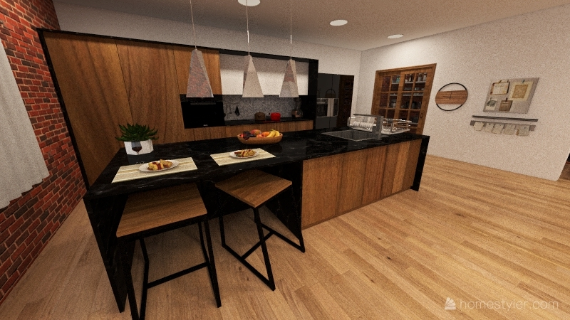 small / industrial house Interior Design Render