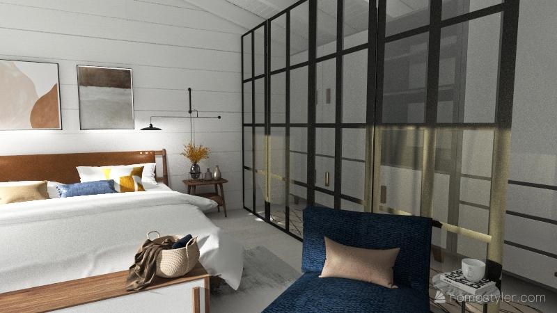 scandinavian bedroom Interior Design Render