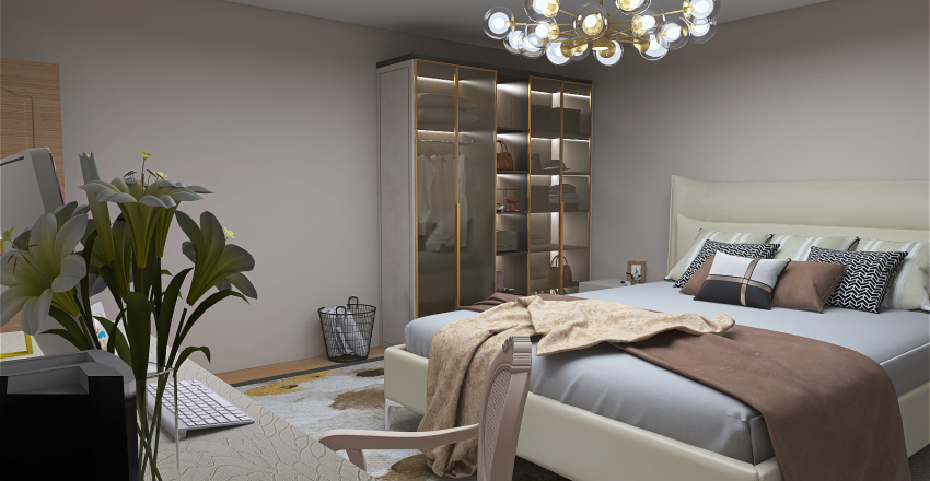 House Family in the Winter Alpes Interior Design Render