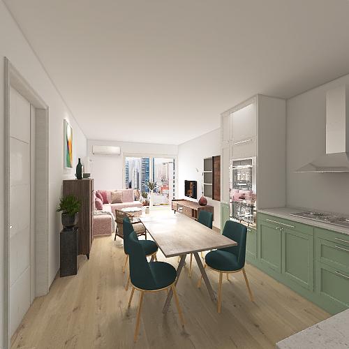Kuhinja bez dimnjaka Interior Design Render