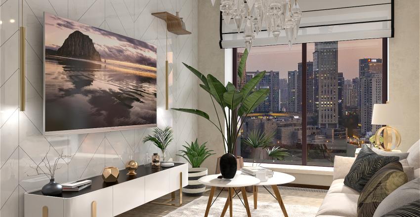 Современная гостинная в светлых тонах Interior Design Render
