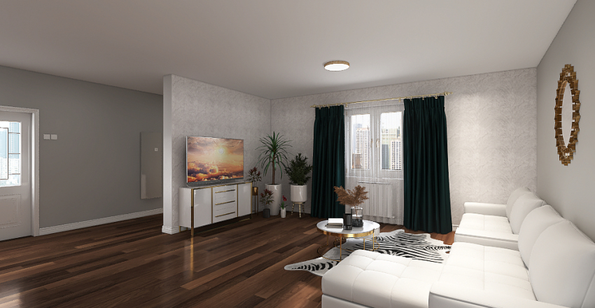 one room house  Interior Design Render